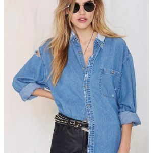 After Party By Nasty Gal Jean Shredded Shirt!